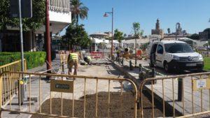 Obras para renovar el adoquinado en las calles Betis y Troya y mejorar el acerado en Salado