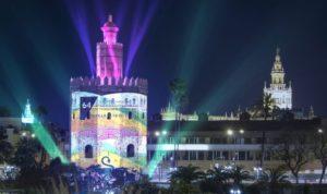Un mapping en la Torre del Oro para celebrar la 1ª Vuelta al Mundo