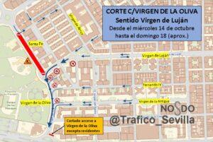 Cortes de tráfico en Virgen de Luján y Virgen de la Oliva por las obras de renovación del colector de Santa Fe