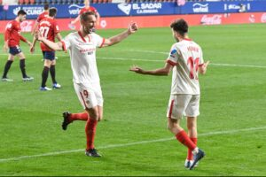 El Sevilla FC, tercero en la Liga tras vencer en Pamplona