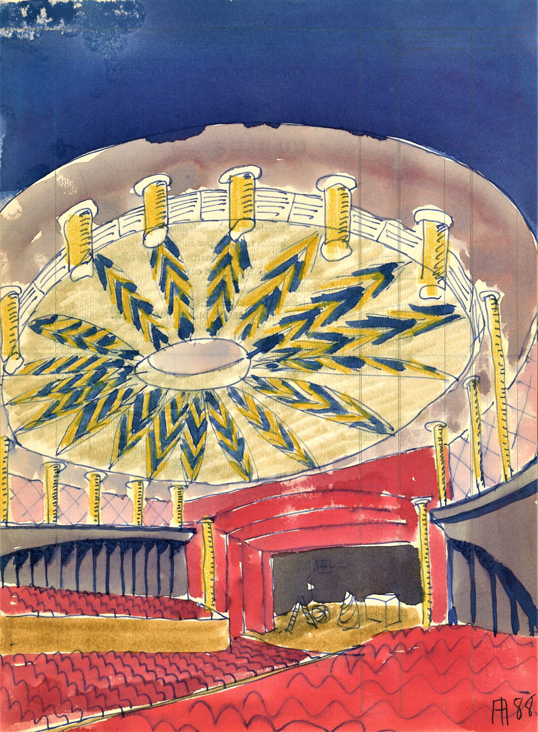 """""""Crónica de un viaje apasionante"""" muestra los bocetos del arquitecto Aurelio del Pozo para el Teatro de la Maestranza"""