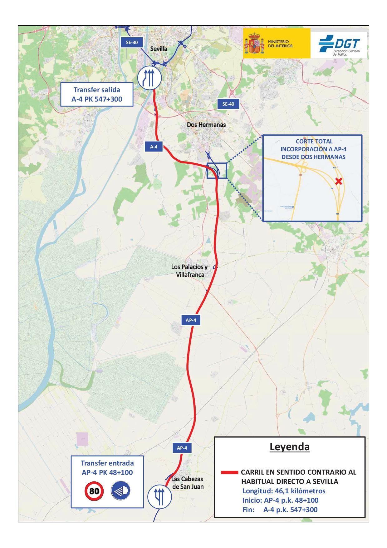 Tráfico instalará nuevamente el domingo el tercer carril en la AP-4 y A-4, en sentido Sevilla
