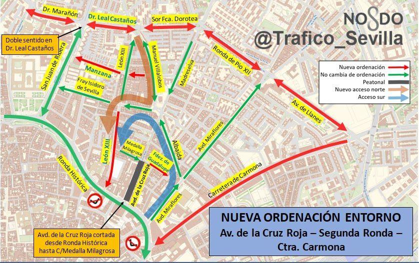 En este momento estás viendo Culminan los trabajos de doble sentido en la segunda ronda y el sentido único en la Carretera de Carmona en dirección al centro